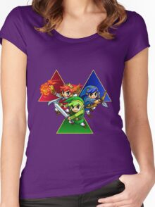 Zelda Triforce Heroes Three Links Women's Fitted Scoop T-Shirt