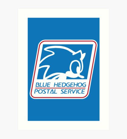 BLUE HEDGEHOG POSTAL SERVICE Art Print