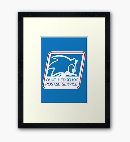 BLUE HEDGEHOG POSTAL SERVICE Framed Print