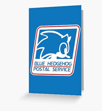 BLUE HEDGEHOG POSTAL SERVICE Greeting Card
