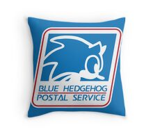 BLUE HEDGEHOG POSTAL SERVICE Throw Pillow