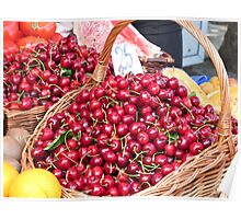 cherries in a basket Poster
