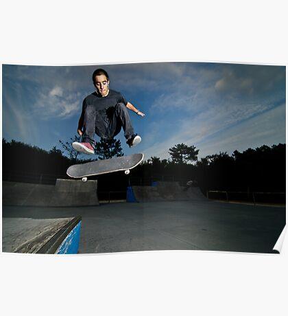 Skateboarder on a flip trick Poster