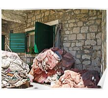 fishing nets in piles Poster
