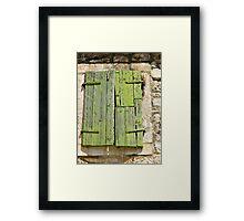 green shutters on stone building Framed Print