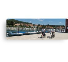cyclists in Hvar Canvas Print