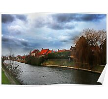 Belgium houses by lake Poster