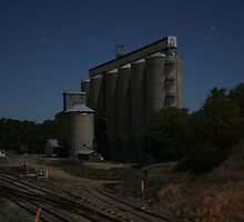 Grain Silos under moonlight by Tim Coleman