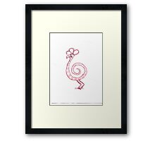 Red Swirly Bird Print Framed Print