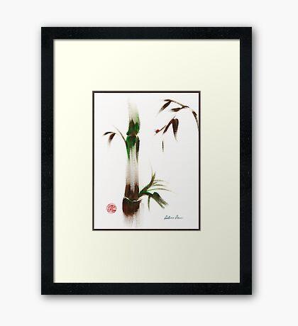 Little Lady - Zen bamboo ladybug painting Framed Print