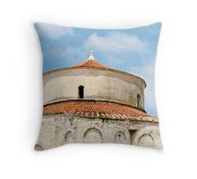 round stone building in Zadar Throw Pillow