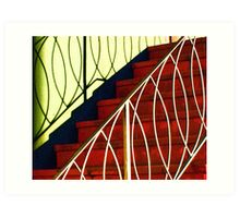 Red Steps and Loopy Shadows Art Print