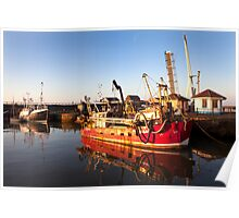 Red Fishing Vessel - Maryport Harbour Poster