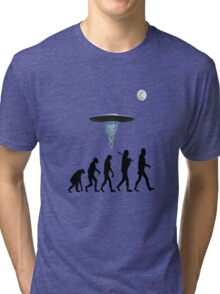 Human evolution alien intervention annunaki light background Tri-blend T-Shirt