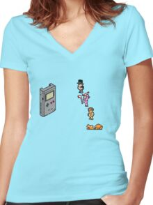 Board Games vs Gameboy Women's Fitted V-Neck T-Shirt