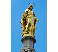 Virgin Mary gold statue Photographic Print