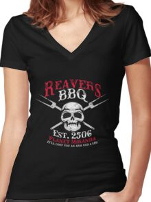Reaver's BBQ - It'll will cost you an arm and a leg. Women's Fitted V-Neck T-Shirt