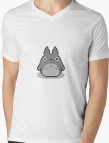Totoro Pixelated Mens V-Neck T-Shirt