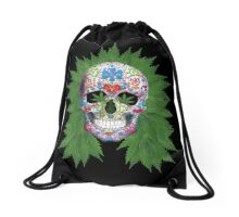 Decorated Skull with Weed Hair Drawstring Bag