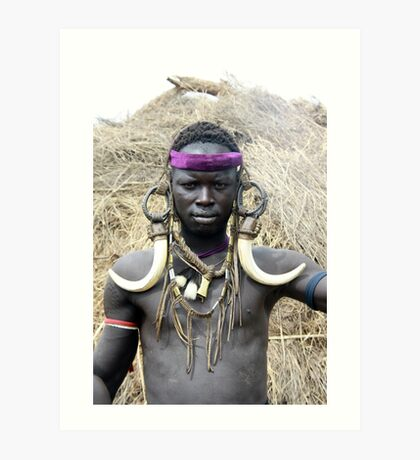 A Mursi tribesman warrior with warthog fangs earring decoration Art Print