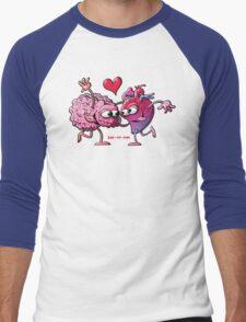 Heart and Brain: A Love Story Men's Baseball ¾ T-Shirt