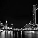 B&W Melbourne at Night 0346 by Kayla Halleur