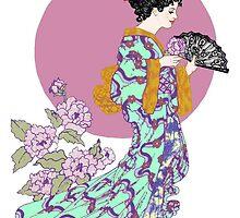 Purple Peony Fan by redqueenself