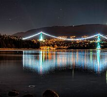 Lion's Gate Bridge Lights (HDR) by James Zickmantel