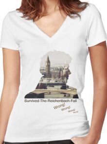 I survived Reichenbach - WRONG! Women's Fitted V-Neck T-Shirt