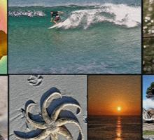 Collage Surf Tee Design Margaret River Western Australia Sticker