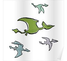 a flock of pterosaurs Poster