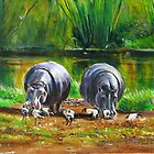 African Hippos on the shore of Lake Victoria by Mutan