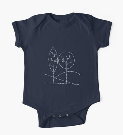 Handstitched trees One Piece - Short Sleeve