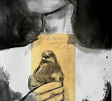 figure with bird by Loui  Jover