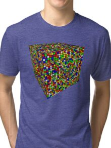 Rubik Menger Sponge, three iterations. Resistance is futile. Tri-blend T-Shirt