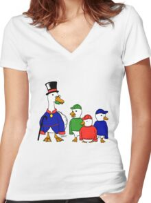DuckStories Women's Fitted V-Neck T-Shirt