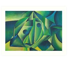 Cubist Abstract Of Village Woman Wearing A Headscarf Art Print
