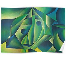 Cubist Abstract Of Village Woman Wearing A Headscarf Poster
