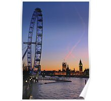 Sunset on river Thames Poster