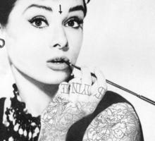 Hepburn tee. Sticker