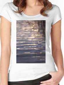 Golden light reflected on lake water Women's Fitted Scoop T-Shirt