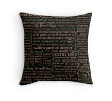 Shakespeare Insults Dark - Revised Edition (by incognita) Throw Pillow