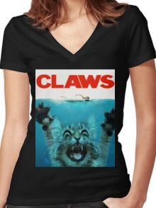 Meow Claws Parody Women's Fitted V-Neck T-Shirt