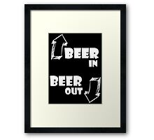 Beer in, Beer out. White Framed Print