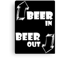 Beer in, Beer out. White Canvas Print