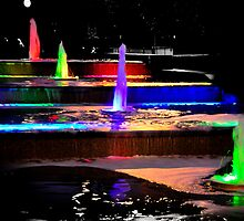 Coloured Fountains Newport South Wales by mbimages