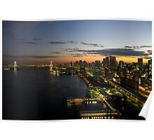 Sunset on Tokyo Bay featuring the Rainbow Bridge - Japan Poster
