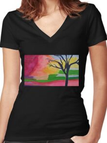 Tree In An Abstract Sunset Women's Fitted V-Neck T-Shirt