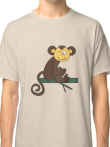 Funny brown monkey winks Classic T-Shirt