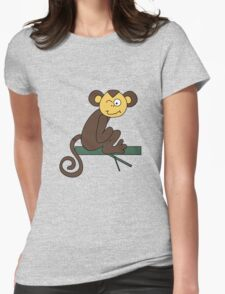 Funny brown monkey winks Womens Fitted T-Shirt